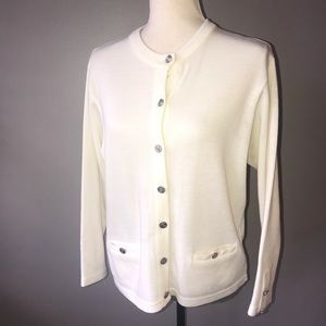 Tally-Ho white cardigan sweater with silver button
